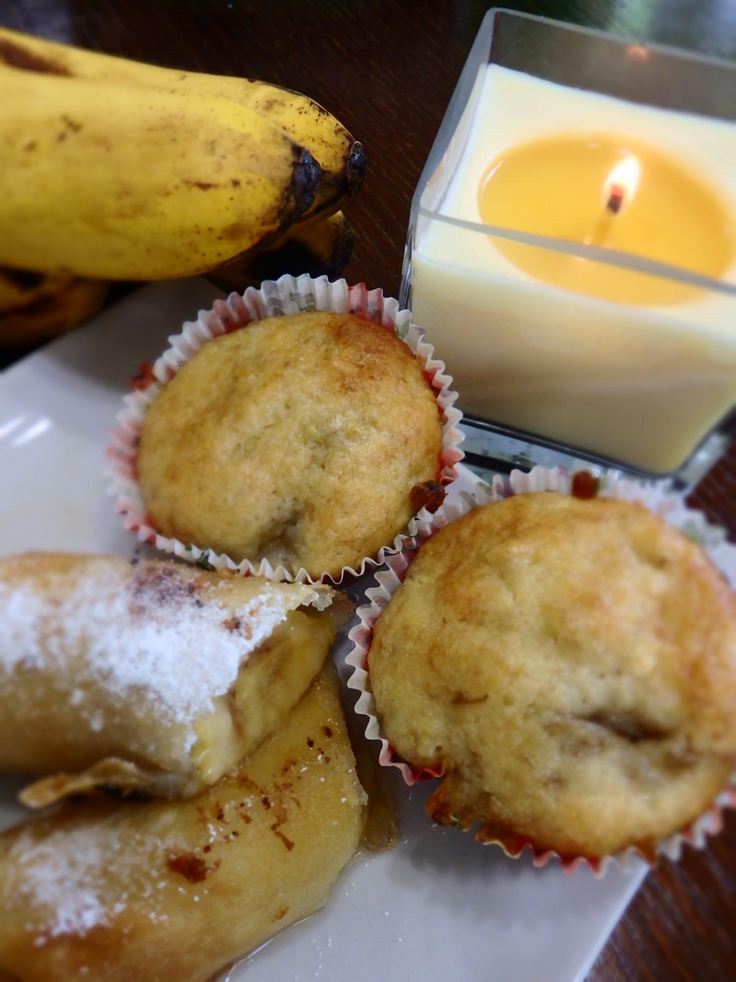完熟バナナをたっぷり入れたマフィンとバナナを春巻きの皮で包んで油で揚げたバナナ春巻き